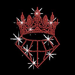 Ruby Wedding Diamond with Crown Iron on Rhinestone Transfer