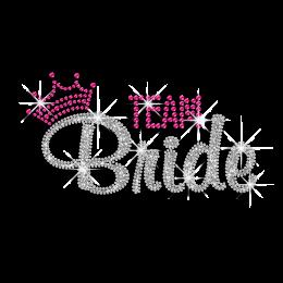 Pretty Team Bride in Crown Wedding Iron-on Rhinestone Transfers
