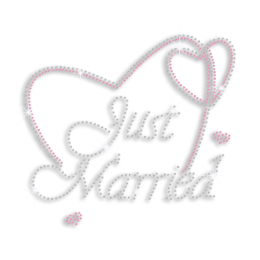 Cute Just Married with Heart Iron-on Rhinestone Transfers