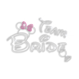 Cute Bright Team Bride with Wedding Ring Rhinestone Iron ons