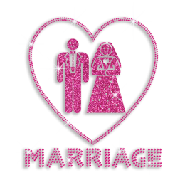 Trendy Married Couples Happy Marriage Wedding Iron-on Rhinestone Transfer