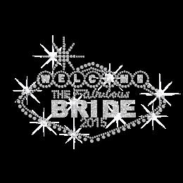 Welcome Bride Iron on Honeymoon Glitter Rhinestone Transfer