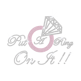 Crystal Put A Ring On It Hotfix Rhinestone Transfer Letter Design