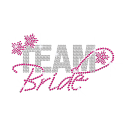 Pink Team Bride Heat Press Rhinestone Transfer Motif