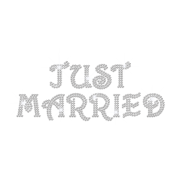 Just Married Iron on Bling Motif