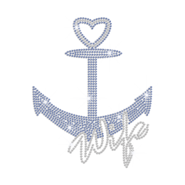 Wife Is Like An Anchor Iron on Rhinestone Transfer Motif