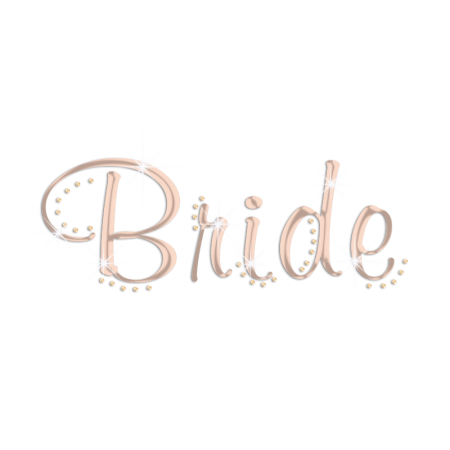 Custom Rose Gold Holofoil Bride Rhinestud Transfer