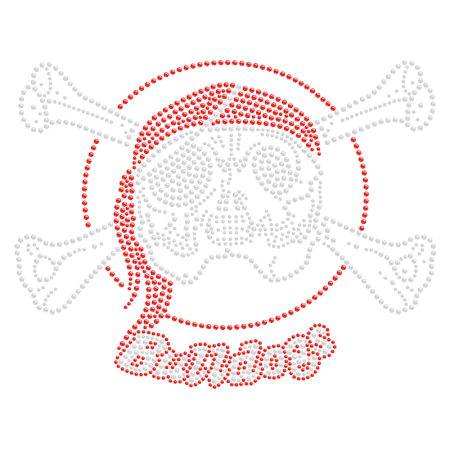 Skull-like Bulldog Iron on Rhinestone Motif Design
