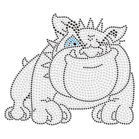 Naughty Bulldog Hot-fix Crystal Transfer Design