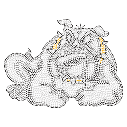 Crouched Bulldog Iron on Crystal Pattern