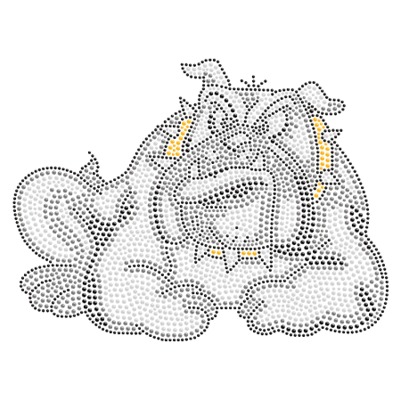 Crouched Bulldog Iron on Crystal Pattern