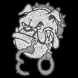 Bulldog Head with Handcuffs Hot-fix Crystal Design