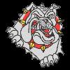 Ferocious Bulldog Iron on Rhinestone Motif for T Shirt