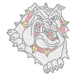 Ferocious Bulldog Iron on Rhinestone Motif for T Shirt