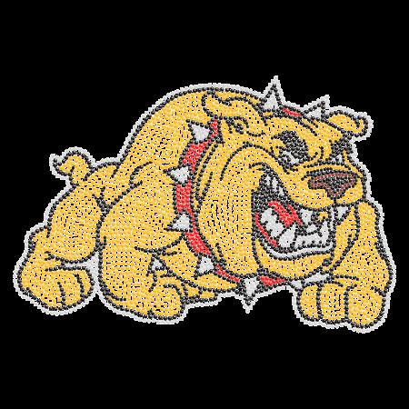 Fighting Gold Bulldog Iron on Strass Transfer