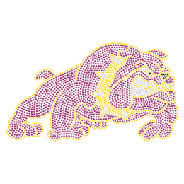 Purple Crystal Bulldog Hot-fix Motif For t shirt