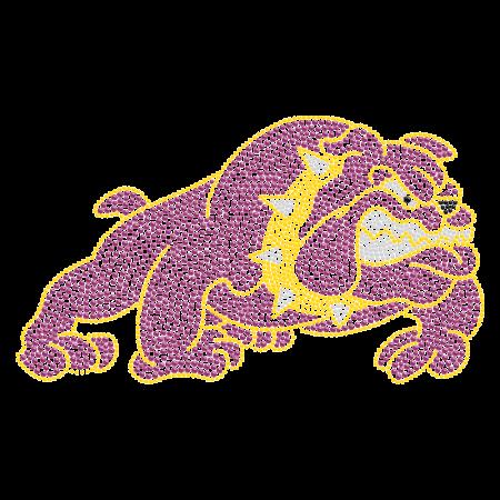 Purple Crystal Bulldog Hot-fix Motif For t shirt