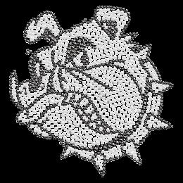 Bulldog Head Outline Crystal Iron on Motif