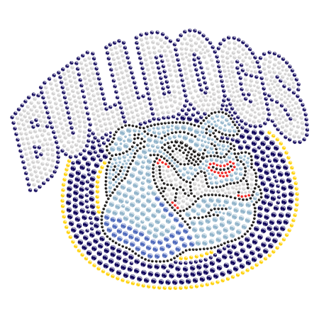 Rhinestone Bulldog Logo Iron ons for Clothes