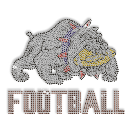 Custom Sparkling Crystal Bulldog Football Diamante Iron on Transfer Design for Shirts