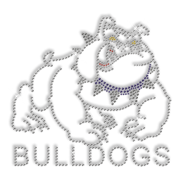 Custom Sparkling Pure Crystal Bulldogs Rhinestone Iron on Transfer Design for Shirts