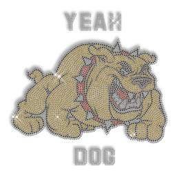 Custom Best Sparkling Yeah Bulldog Rhinestone Iron on Transfer Design for Clothes