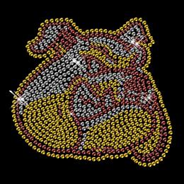 Custom Cool Sparkling Yellow Bulldog Head Diamante Iron on Transfer Motif for Shirts