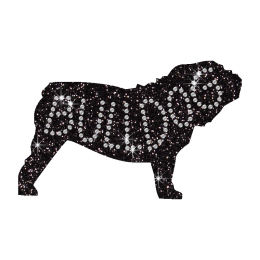 Cool Black Silhouette of Bulldog Hotfix Bling Motif