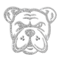 Crystal Bulldog Head Iron on Rhinestone and Glitter Motif