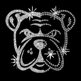 Crystal Bulldog Head Iron on Rhinestone and Glitter Motif