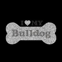 Sparkly Bulldog I Heart New York Iron on Glitter Rhinestone Transfer