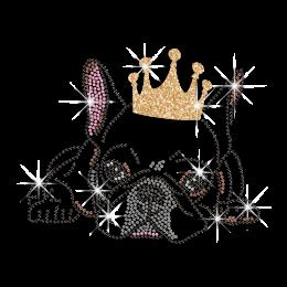 Cute Little Bull Dog Wearing Crown Iron on Glitter Rhinestone Transfer