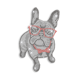 Cute Bull Dog Wearing Glasses Iron-on Rhinestone Transfer
