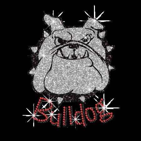 foto de Cool Bulldog Face Glitter Iron on Rhinestone Transfer Design - CSTOWN