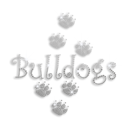 Custom Bulldog Paw Prints Iron on Rhinestone Transfer