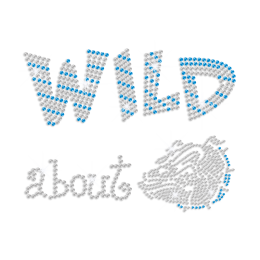 Teal Wild about Bulldog Iron-on Rhinestone Transfer