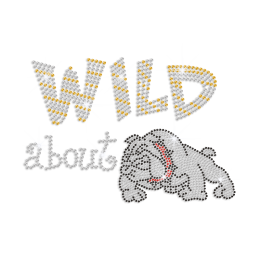 Cute Wild about Bulldog Iron on Rhinestone Transfer