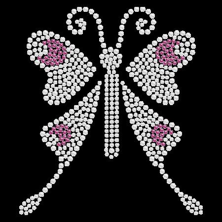 Heart-shape Butterfly Iron ons Rhinestone Design