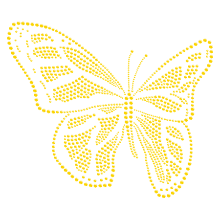 Golden Iron on Butterfly Rhinestone Transfer for Clothing