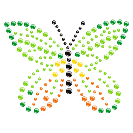 Colorful Rhinestone Iron on Butterfly Motif Pattern for Clothing