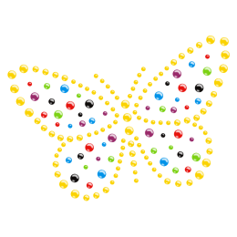 Colorful Crystal Butterfly design Hotfix Rhinestone Pattern