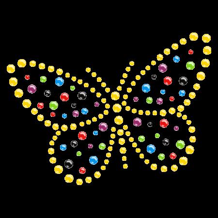 Colorful Crystal Butterfly design Hotfix Rhinestone Pattern