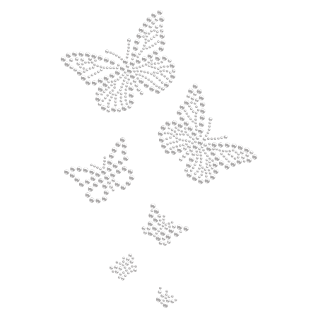 Clear Hotfix Stone Butterfly Transfer Design for Clothing