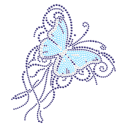 Fancy Iron on Design Blue Butterfly Rhinestone Transfer