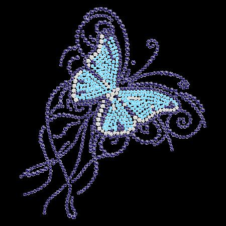 Fancy Iron on Design Blue Butterfly Rhinestone Transfer