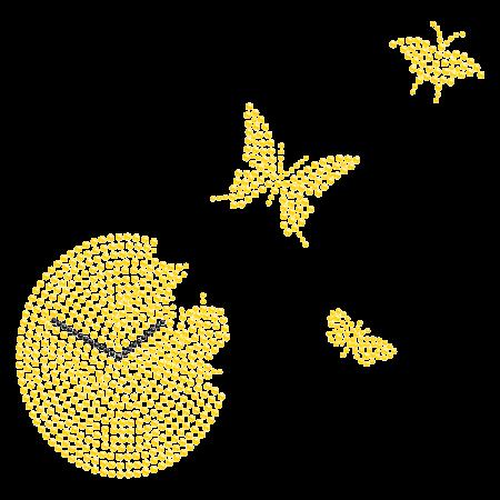 Golden Butterfly Hotfix Bling Transfer for Clothing