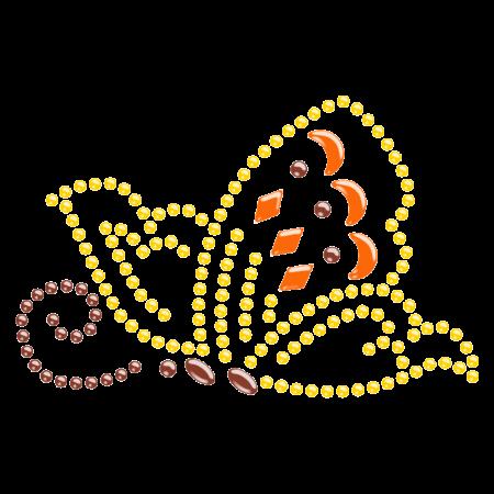 Yellow Butterfly Hotfix Rhinestone Pattern for Kids