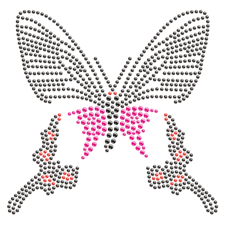 Big Pretty Butterfly Rhinestone Iron on Bling Transfer
