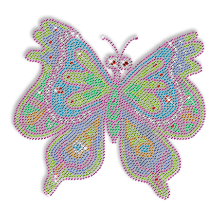 Butterfly Colorful Rhinestone Iron on Pattern