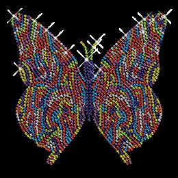 Symmetrical Butterfly Design Iron on Rhinestone Transfer